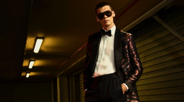 Hugh Burry sports a dandy tuxedo from the Tom Ford x Mr Porter capsule collection.