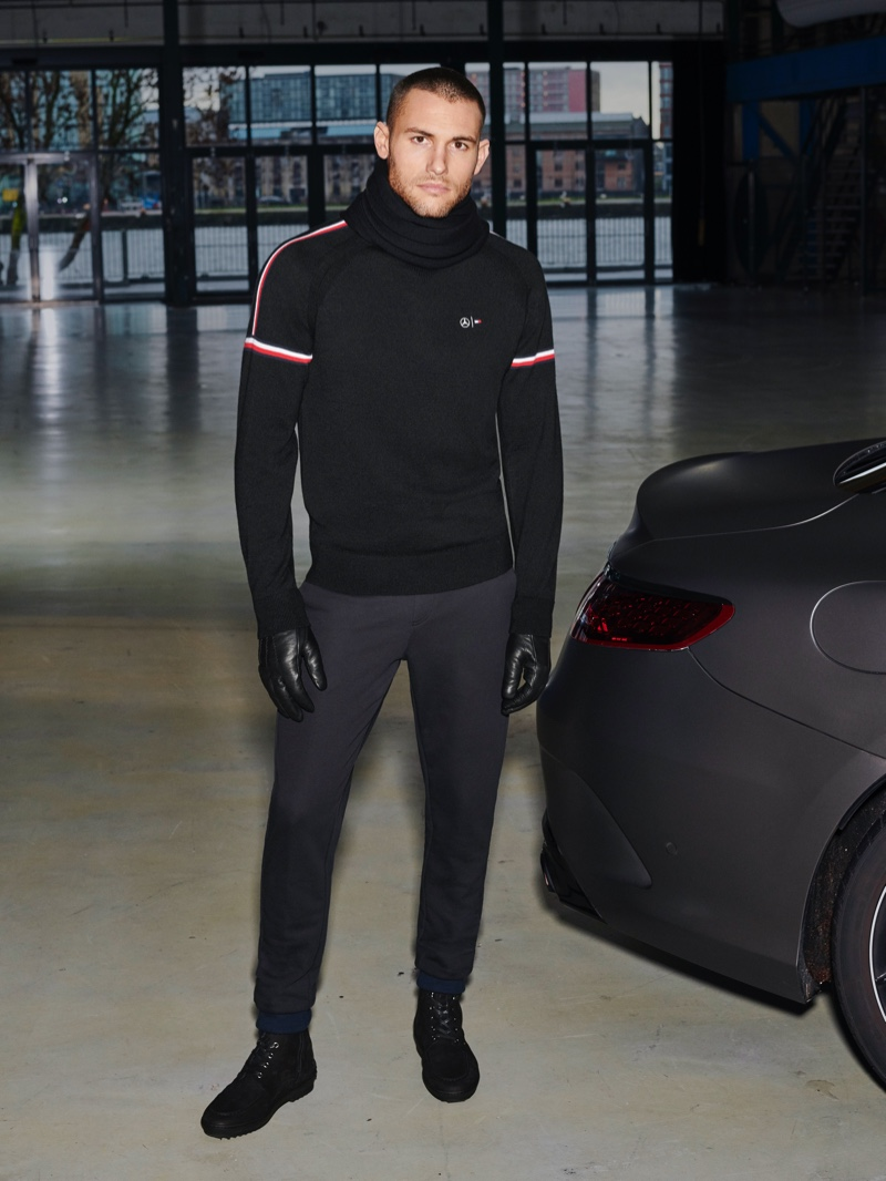 Front and center, Corey Saucier wears clothes from the Tommy x Mercedes-Benz fall-winter 2019 collection.