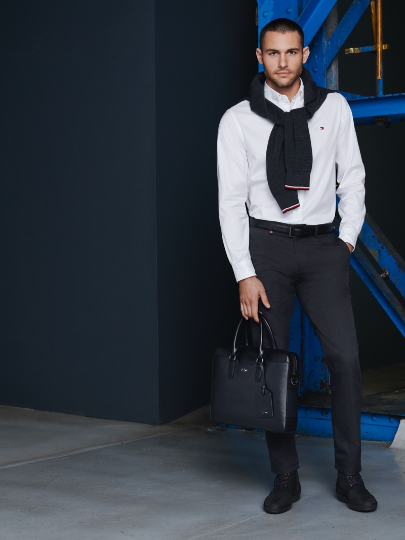 Making a case for smart style, Corey Saucier dons essentials from the Tommy x Mercedes-Benz fall-winter 2019 collection.
