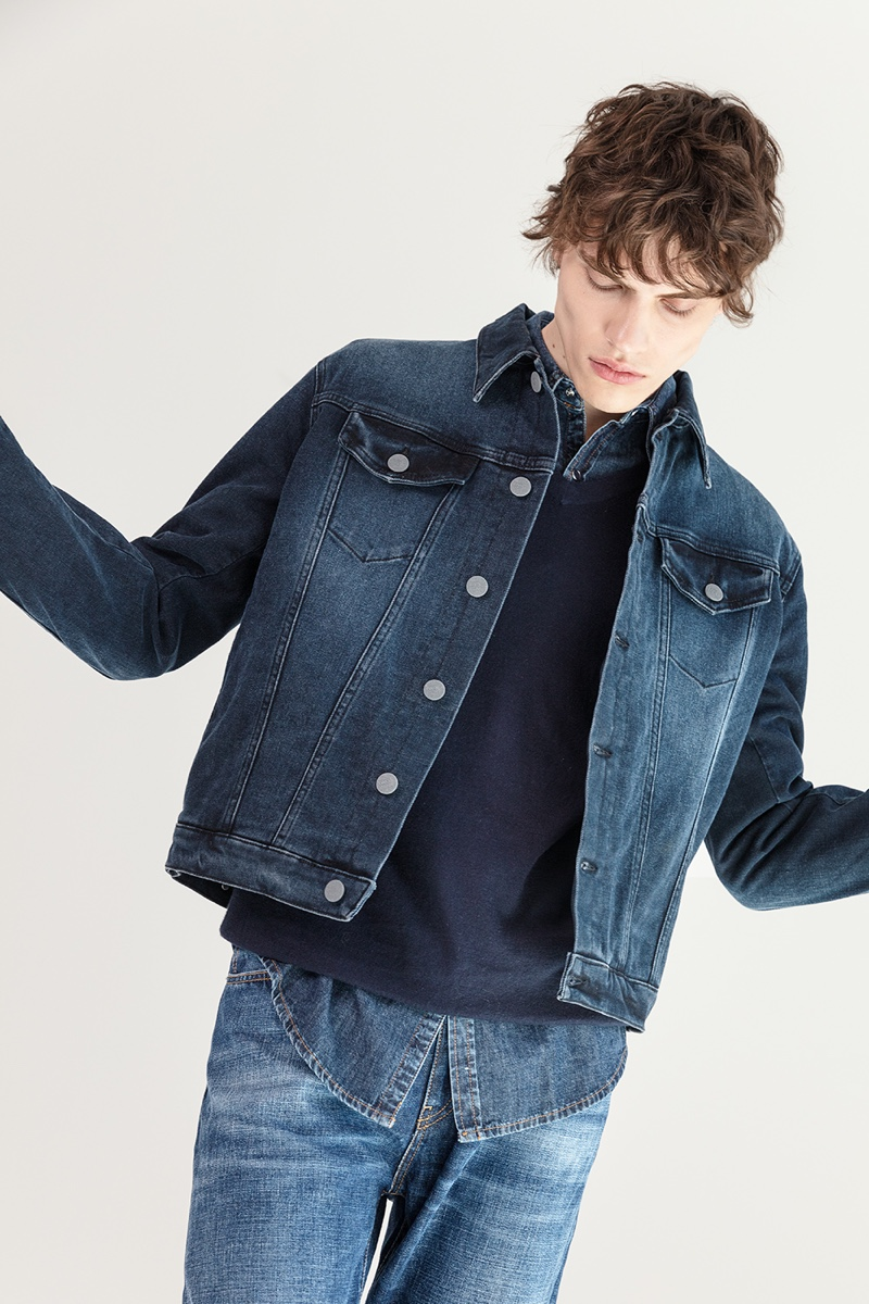 Making a case for double denim style, Philip Lunin wears Two Men.