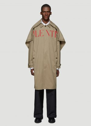 Valentino Logo Trench Coat in Beige size IT - 50