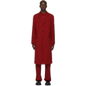 Valentino Red Plisse Coat