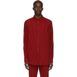 Valentino Red Plisse Shirt