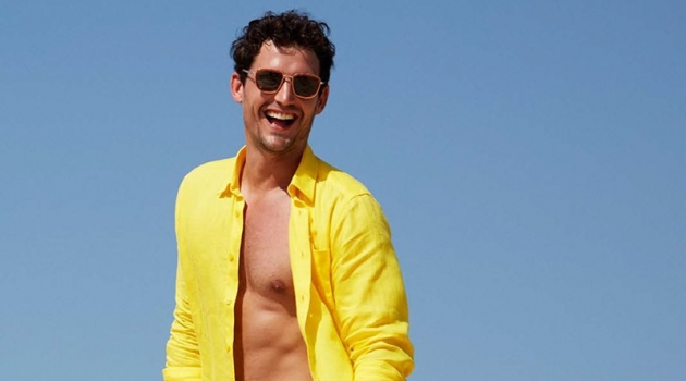All smiles, Sam Webb dons a yellow linen Vilebrequin shirt $250 with Bateaux Sur L'eau swim trunks $260.