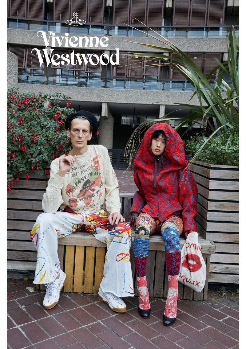 Pictured left, Nicolas Duée sports a bold fall-winter 2019 look for Vivienne Westwood's campaign.
