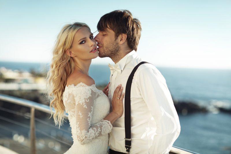 Wedding Couple Groom in Suspenders
