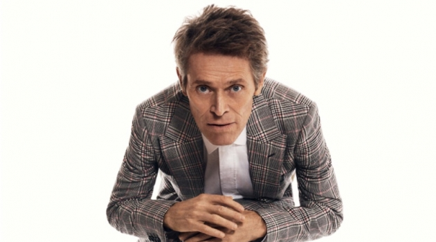 Front and center, Willem Dafoe dons a shirt and suit by Alexander McQueen with Church's shoes.