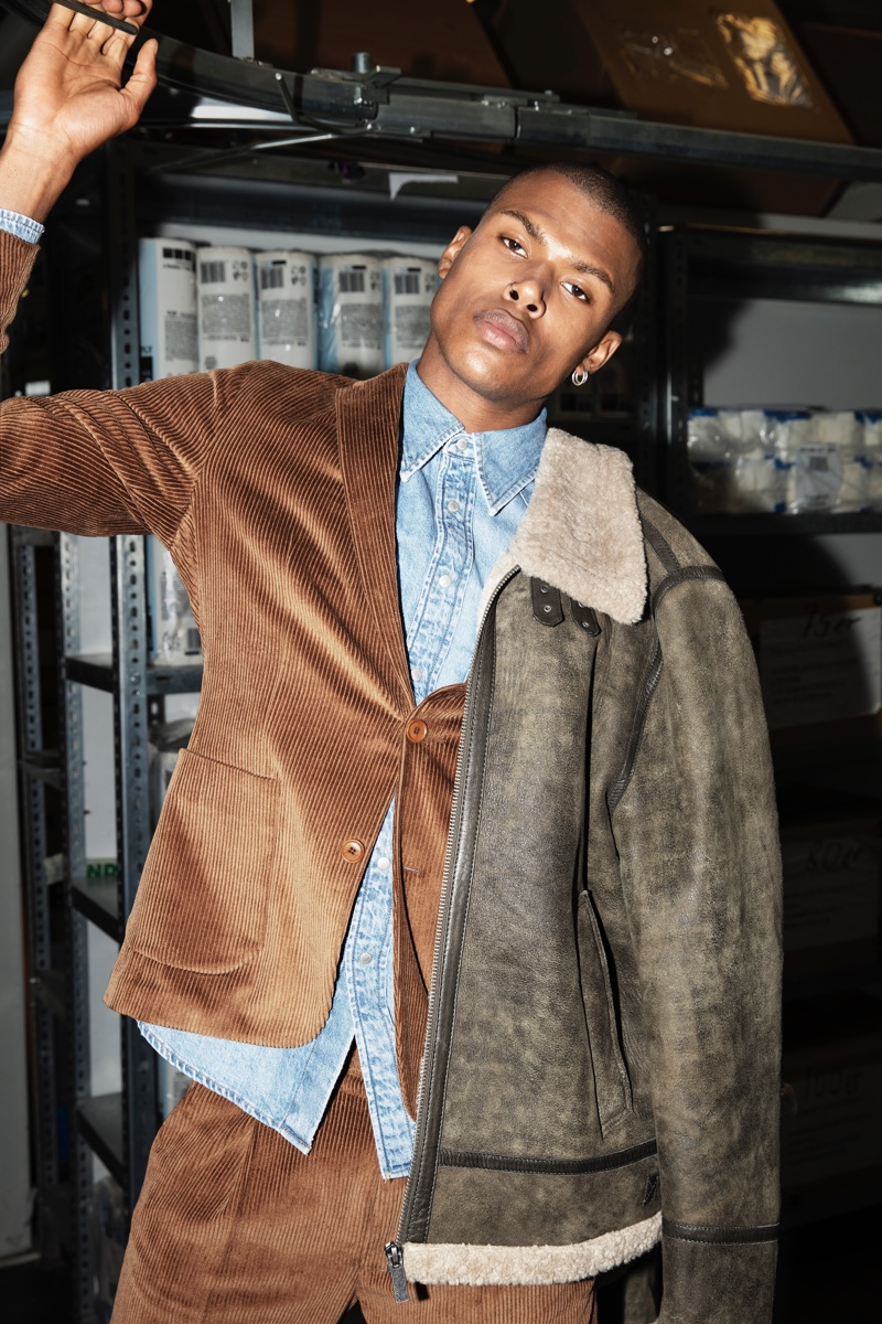 Making a case for brown, Maurice Jabar Werner wears an Oakwood jacket, over a Drykorn corduroy suit and denim Calvin Klein shirt.