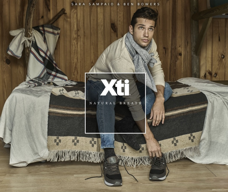 Model Ben Bowers fronts Xti's fall-winter 2019 campaign.
