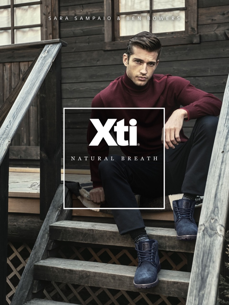 Donning boots, Ben Bowers stars in Xti's fall-winter 2019 campaign.