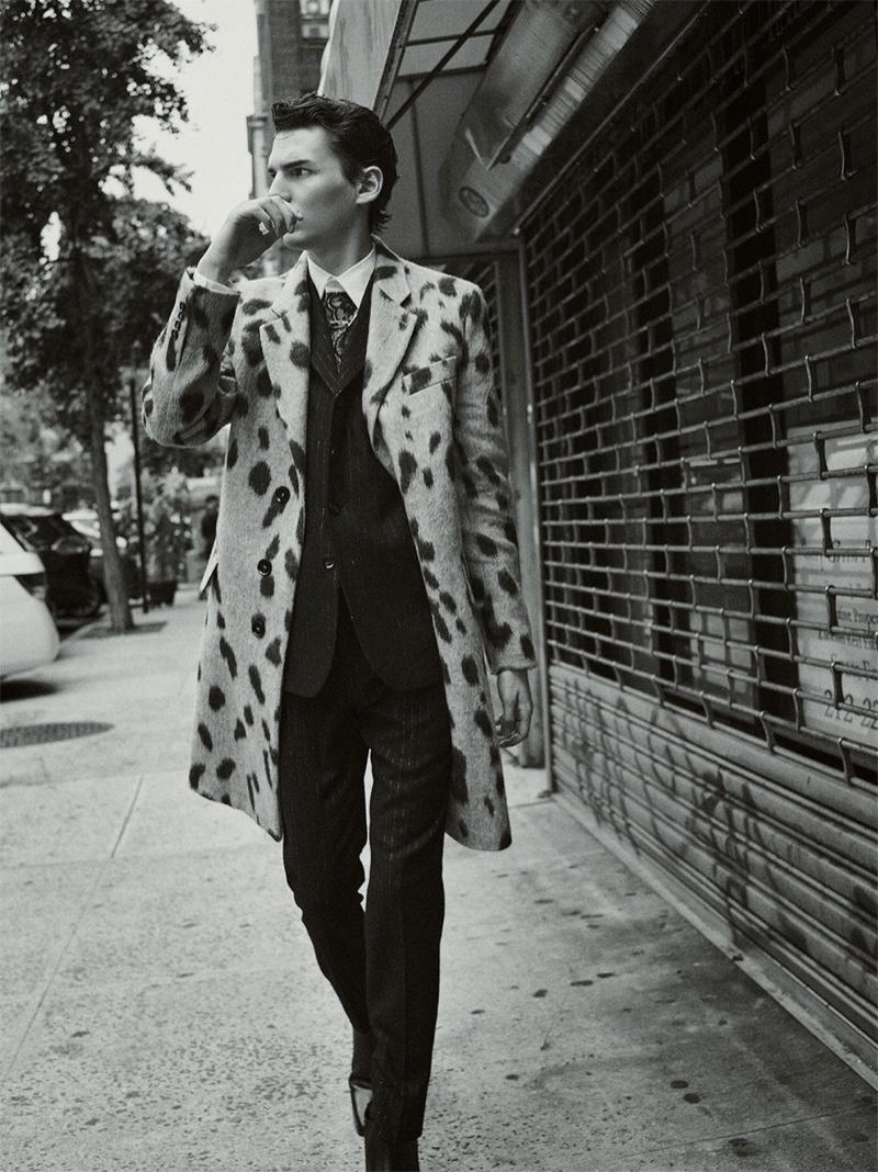Making a statement in an animal print coat, Eli Epperson fronts Zara's fall-winter 2019 Collection campaign.