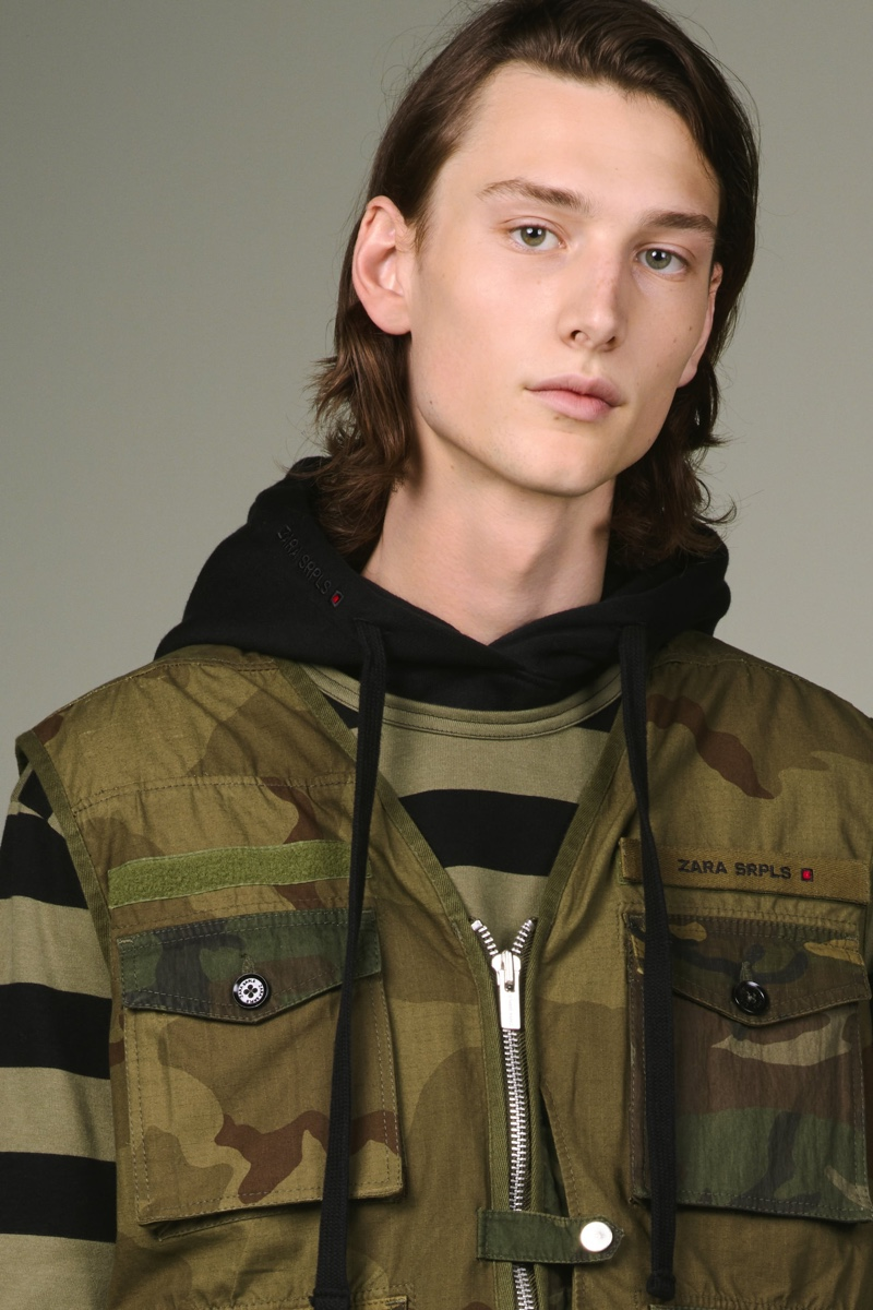 Wellington Grant wears a camouflage look from Zara SRPLS' fall-winter 2019 collection.