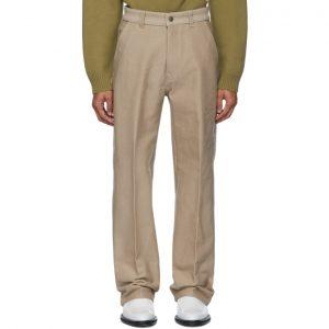 AMI Alexandre Mattiussi Beige Wide Fit Trousers