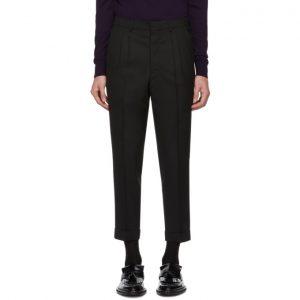 AMI Alexandre Mattiussi Black Barathea Weave Trousers