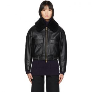 AMI Alexandre Mattiussi Black Grained Leather Shearling Jacket