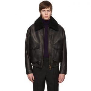 AMI Alexandre Mattiussi Black Shearling Grained Jacket