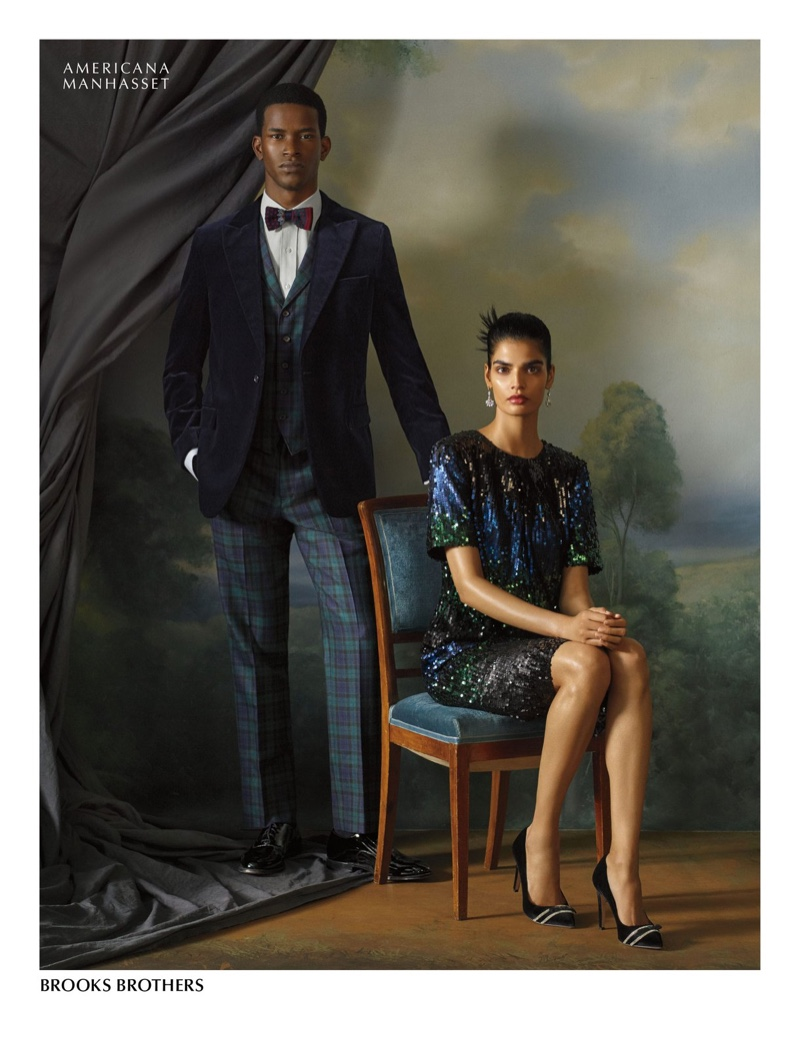 Models Salomon Diaz and Bhumika Arora wear Brooks Brothers for Americana Manhasset.