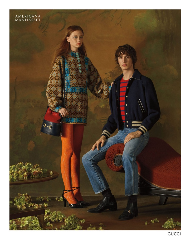 Sara Grace Wallerstedt and Dylan Fender model looks from Gucci for Americana Manhasset.