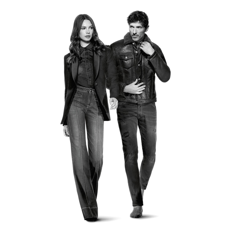 Models Andres Velencoso and Mona Johannesson star in Jacob Cohen's fall-winter 2019 campaign.