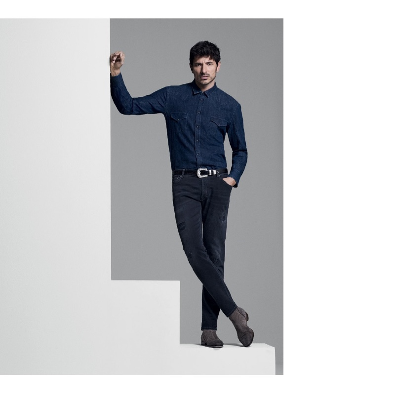 Donning a western-inspired denim look, Andres Velencoso connects with Jacob Cohen for fall.