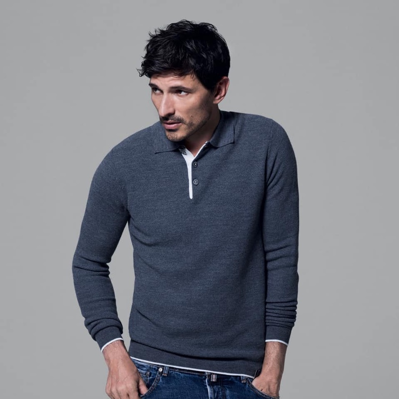 Going casual, Andres Velencoso wears a long-sleeve knit by Jacob Cohen.