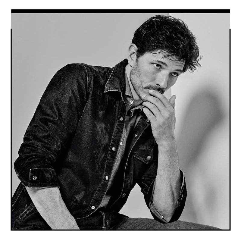 Rocking denim, Andres Velencoso is front and center for Jacob Cohen.