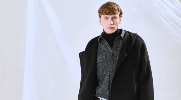 """Model Sid Ellisdon dons an oversized parka from Antony Morato's """"Open Mind"""" capsule collection."""