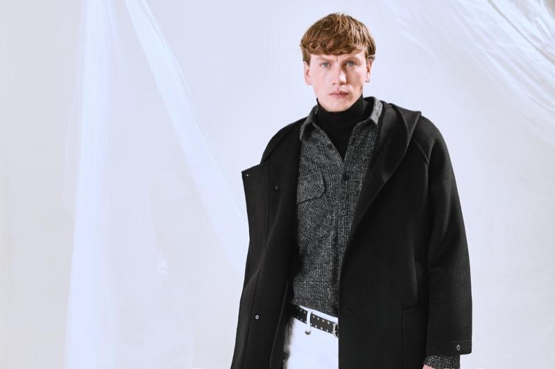 Model Sid Ellisdon dons an oversized parka from Antony Morato's