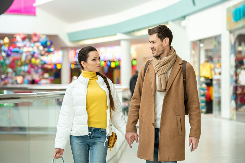 Attractive Couple Shopping Mall Holidays