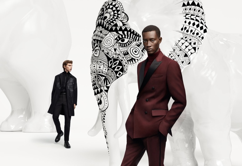 Models Erik van Gils and Oumar Diouf come together for the BOSS x Meissen holiday campaign.