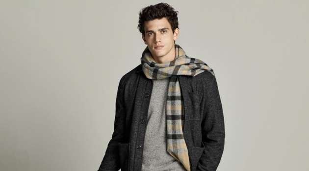 Xavier Serrano sports a gray fall look from Banana Republic.
