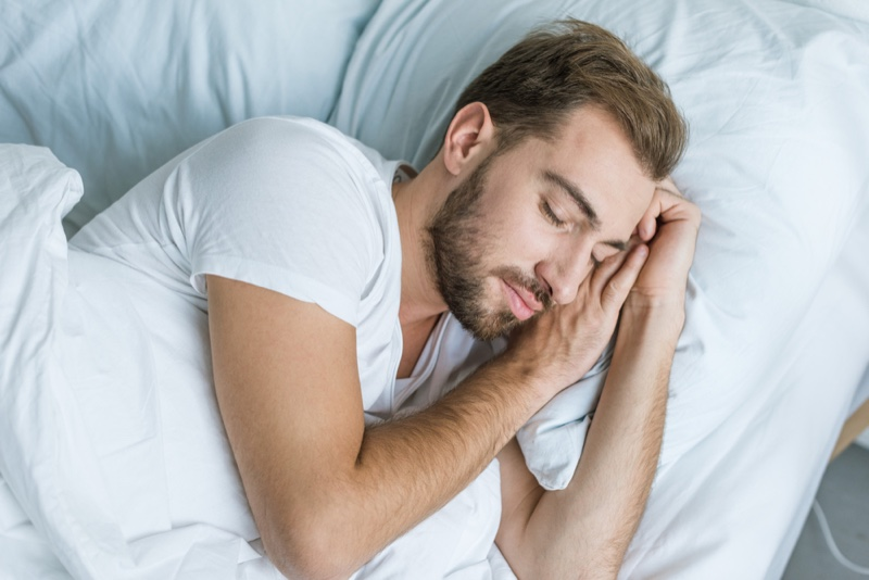 Bearded Man Sleeping Bed