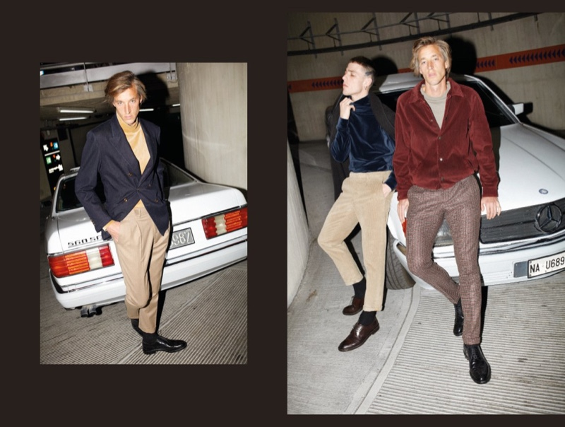 Taking to a parking garage, Joel Frampton and  Dustin Phil don sleek fall-winter 2019 styles from Briglia 1949.