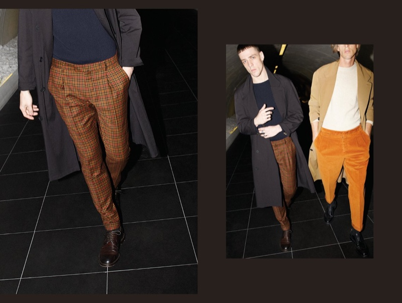 On the move, Dustin Phil and Joel Frampton sport brown trousers from Briglia 1949's fall-winter 2019 collection.