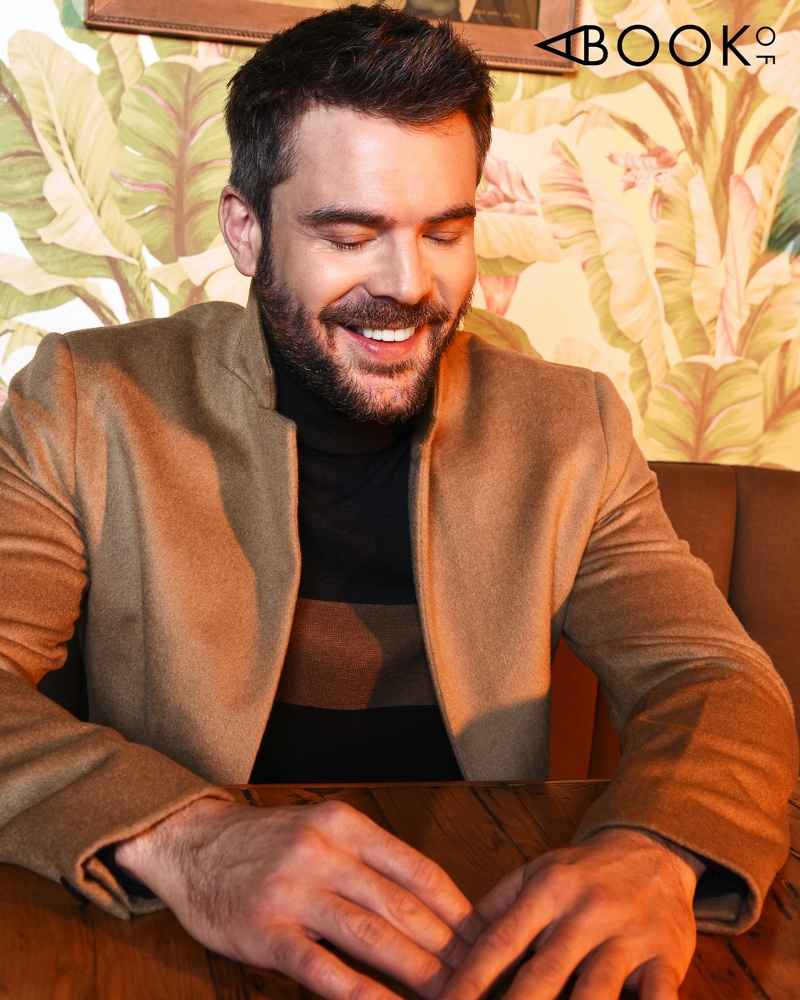 All smiles, Charlie Weber dons a fall look for the pages of A Book Of magazine.