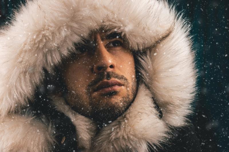 Closeup Male Model Fur Hood Jacket Winter Snow
