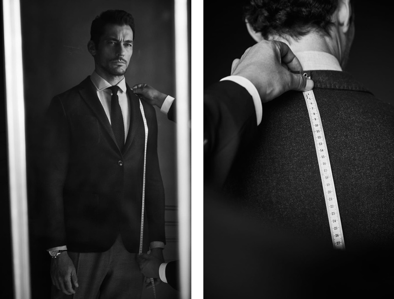 Starring in a new shoot, David Gandy gets fitted in Massimo Dutti Personal Tailoring.