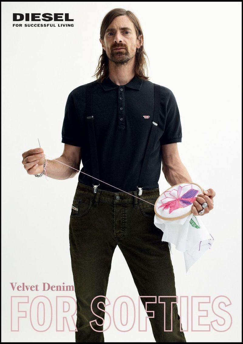 Martin Ehrencrona appears in Diesel's fall-winter 2019 Velvet Denim campaign.