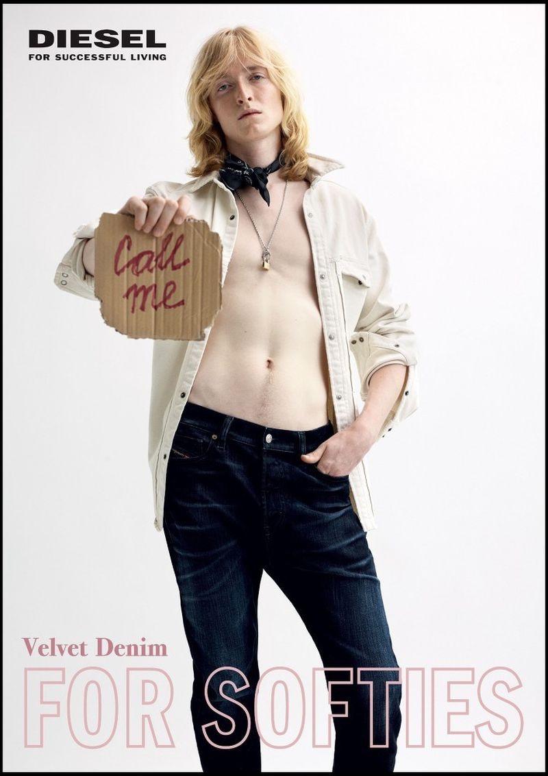 Samuel Serafin stars in Diesel's fall-winter 2019 Velvet Denim campaign.