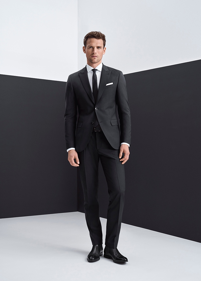A sleek vision, Guy Robinson sports a mix-and-match suit from Digel.