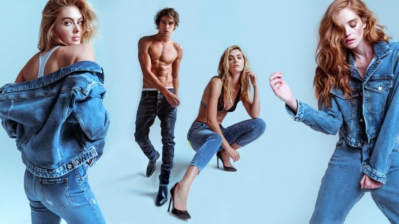 Megan Williams, Marlon Teixeira, and Alexina Graham front Dsquared2's denim campaign.