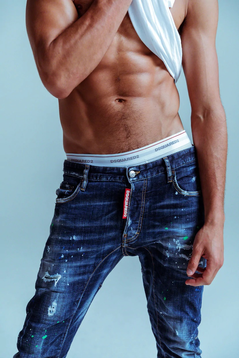 Brazilian model Marlon Teixeira provides the shirtless torso for Dsquared2's denim campaign.