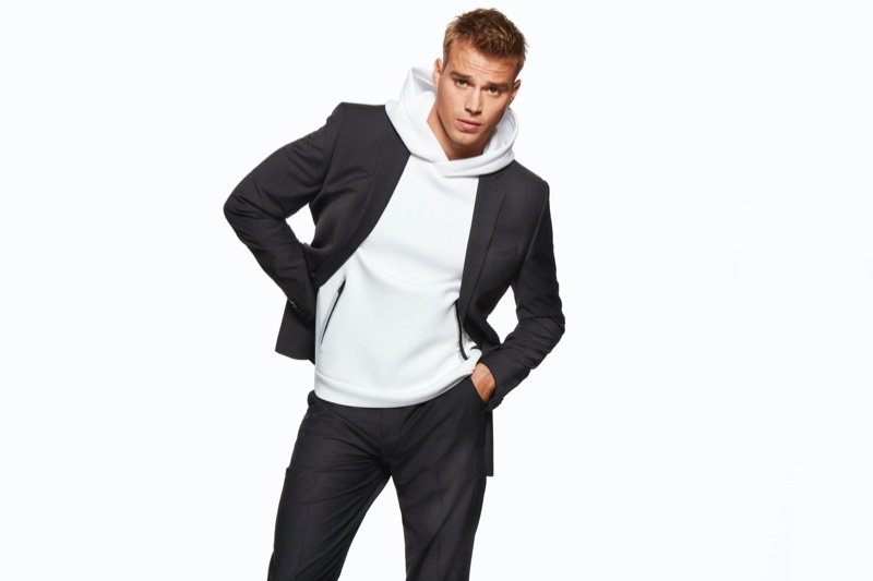Front and center, Matthew Noszka reunites with Express for its holiday 2019 campaign.