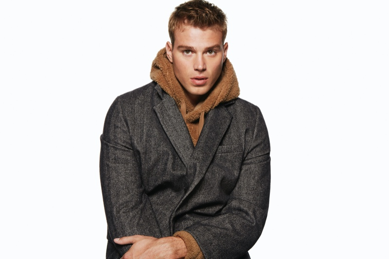Model Matthew Noszka fronts Express' holiday 2019 campaign.
