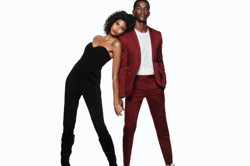 Imaan Hammam and Salomon Diaz hit the studio for Express' holiday 2019 campaign.