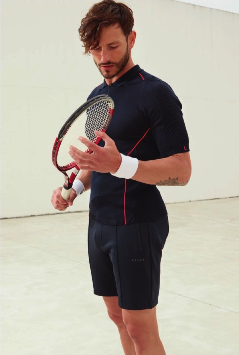 Ready for a game of tennis, Parker Gregory wears Falke.