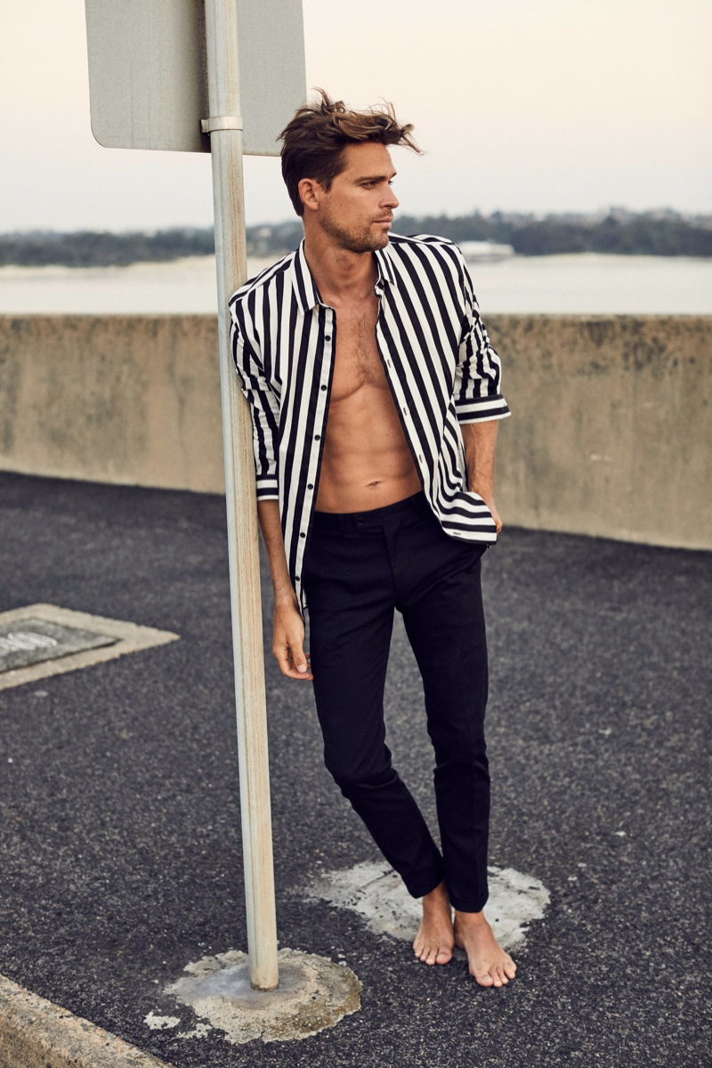 Broed wears striped shirt Jack London and pants Country Road.