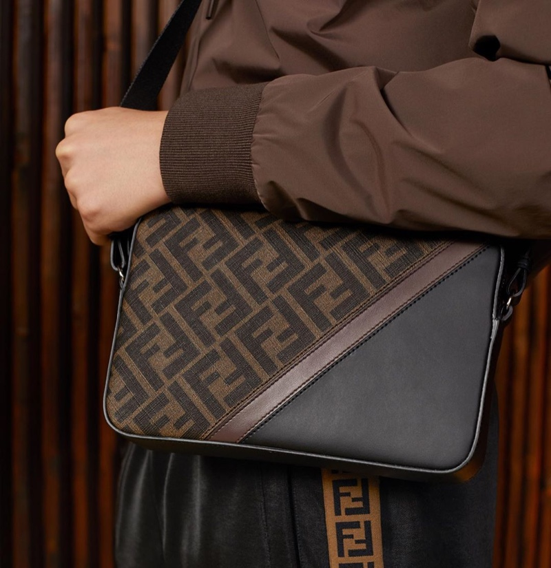 A leather and canvas bag from Fendi's resort 2020 collection features the fashion house's iconic FF pattern.