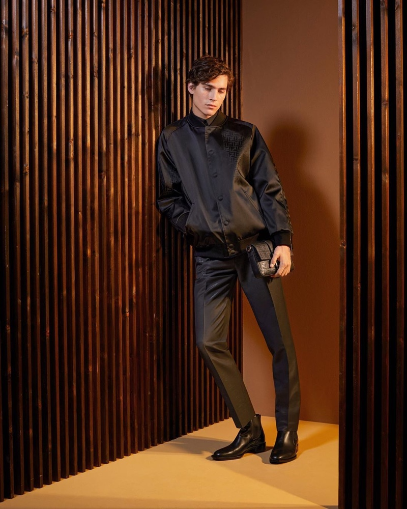 Front and center, Liam Kelly goes sporty in Fendi.