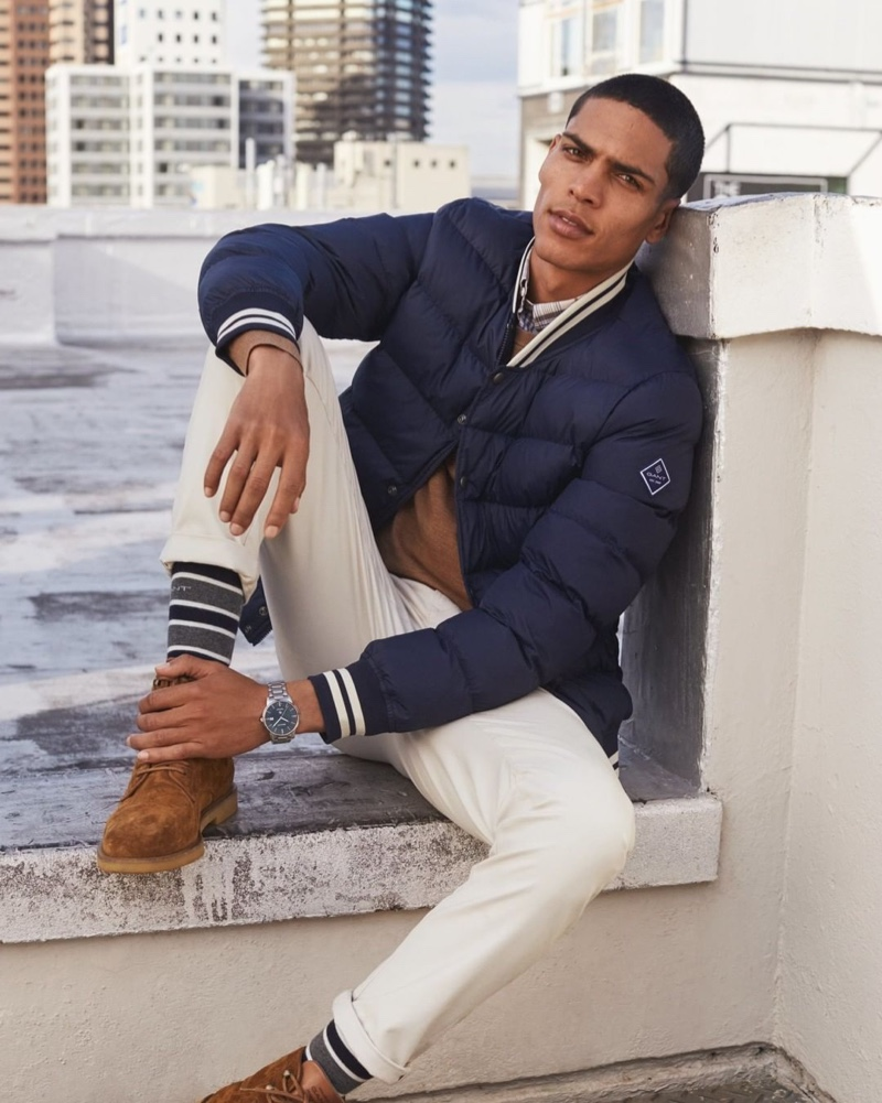 Geron McKinley sports a fall-winter 2019 look from GANT for the brand's latest campaign.